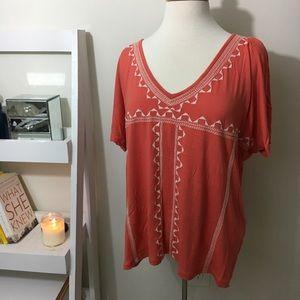 Coral Old Navy embroidered v-neck blouse
